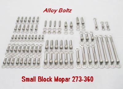 218 Pc SB Mopar Stainless Allen Bolt Kit