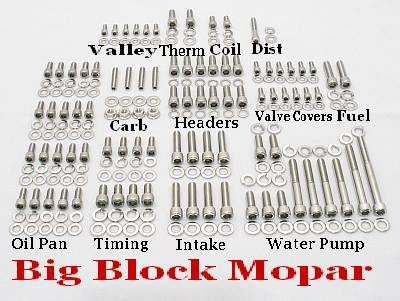 256 Pc BB Mopar 383-440 Stainless Allen Bolt Kit
