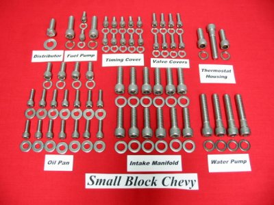 Small Block Chevy Stainless Allen Bolt Engine Kit (non-EFI)