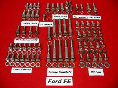 229 Pc Ford FE Stainless Steel Hex Head Bolt Kit