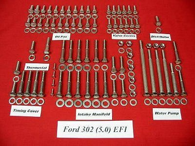 224 Pc 86-93 Ford 5.0 302 Stainless Hex Engine Kit