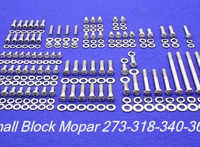 218 Pc SB Mopar Stainless Hex Bolt Kit