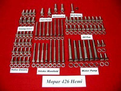 281 Pc 426 Hemi Stainless Hex Engine Bolt Kit