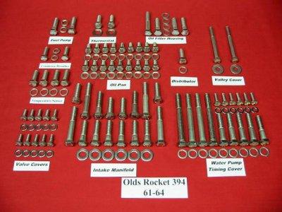 61-64 Olds Rocket Stainless Hex Engine Bolt Kit