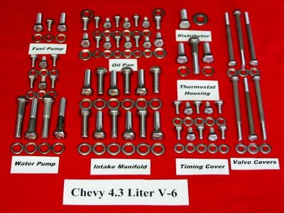 193 Pc Chevy 4.3L V-6 Stainless Steel Hex Engine Bolt Kit