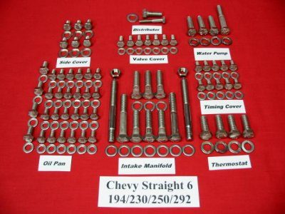 Chevy 194 230 250 292 Stainless Steel Hex Bolt Kit