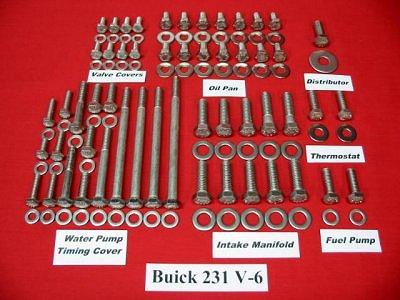202pc Buick 231 V-6 Turbo V-6 Stainless Hex Bolt Kit