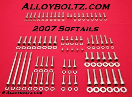 2007 & UP Softail Show Polished Stainless Engine Allen Bolt Kit