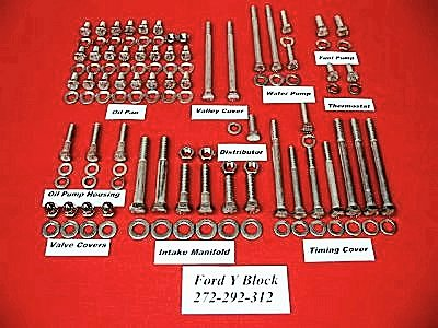 208 Pc Ford Y-Block Hex Head Engine Bolt Kit For 55-57 T-Birds