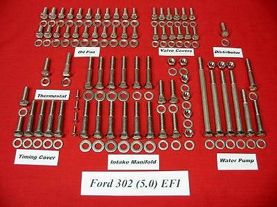 217 Pc 1996-2001 Ford 5.0 302 Stainless Hex Engine Bolt Kit